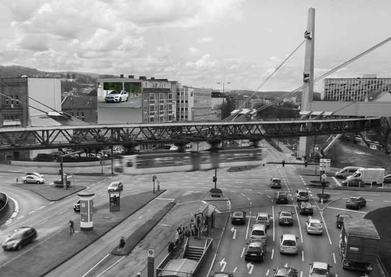 Digitale bewegende Außenwerbung in Wuppertal